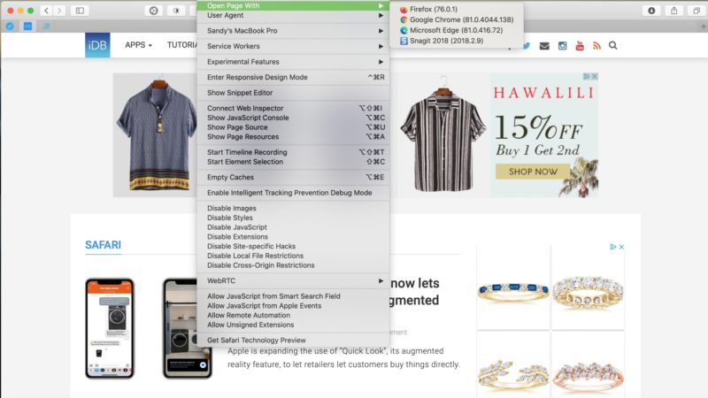 How to quickly open a Safari webpage in another browser on Mac